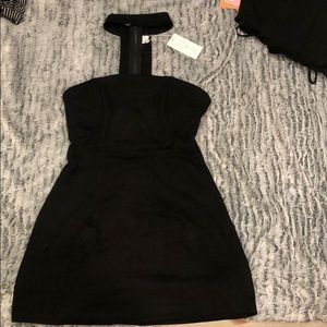 LF Suede Strapless Choker Dress